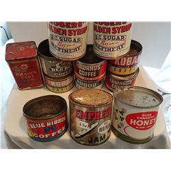 LOT OF 12 ASSORTED TINS (COFFEE, SYRUP, JAM, HONEY)
