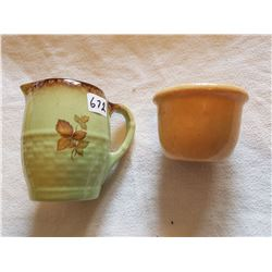 LOT INCLUDING A MEDALTA CREAMER AND A MADALTA BOWL (CREAMER 4 INCH) *VERY OLD*