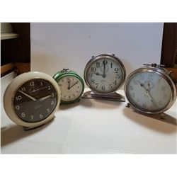 4 OLDER ALARM WIND-UP CLOCKS