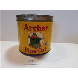 ARCHER 60 CENT TOBACCO TIN CAN