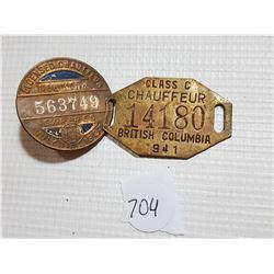 1941 B.C. CHAUFFEUR AND 1927 NEW YORK CHAUFFEUR TAGS