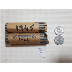1944 AND 1945 FULL ROLLS OF 5 CENT V NICKLES, 80 COINS\