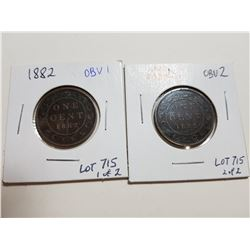 1882 H OBVERSE 1 AND 2 LARGE PENNY LOT