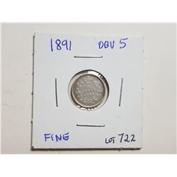 1891 OBVERSE  SILVER 5 CENT COIN