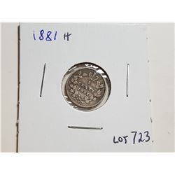 1881 H SILVER 5 CENT COIN