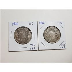 1946 NARROW AND WIDE DATE 50 CENT SILVER COINS