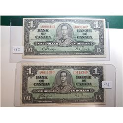 1937 1 DOLLAR BANK NOTES, 2 DIFFERENT SIGNATURES