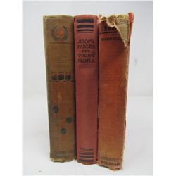 LOT OF 3 BOOKS (VINTAGE) *TARZAN THE TERRIBLE BY EDGAR RICE BURROUGHS* (1921) *AESOP'S FABLES FOR YO