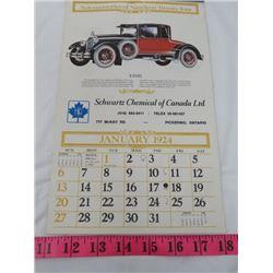 REPLICA CALANDAR (SCHWARTZ CHEMICAL OF CANADA) *1924*