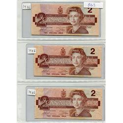 SHEET OF PAPER TWO DOLLAR BILLS (1986) X 3