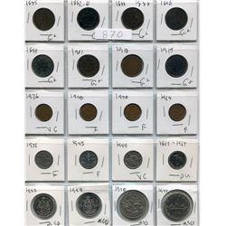 SHEET OF VARIOUS COINS ( 1882-1975) *CDN* (PENNIES, NICKELS, 50 CENT COINS, DOLLAR COINS)
