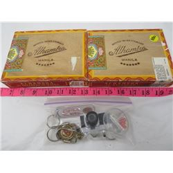 2 WOODEN ALHAMBRA CIGAR CASES & MIXED LOT OF KEYCHAINS ( STARDUST LAS VEGAS, SALEM WITCH MUSEUM, LUC