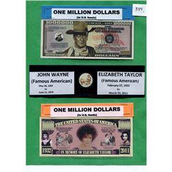 FAMOUS AMERICANS ON ONE MILLION DOLLAR BANKNOTES. JOHN WAYNE AND ELIZABETH TAYLOR.