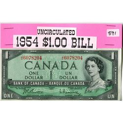 1954 CANADIAN $1.00 BANK NOTE UNCIRCULATED