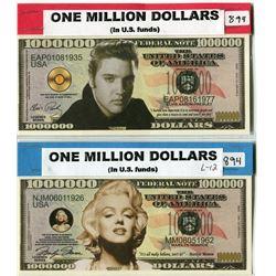 ONE MILLION DOLLAR BILLS MARILYN MONROE AND ELVIS PRESLEY