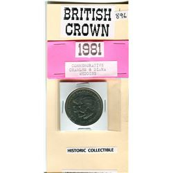 1981 BRITISH CROWN COIN COMMEMORATIVE HONORING CHARLES AND DIANA
