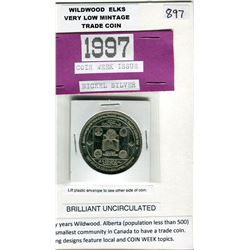 WILDWOOD, AB $3.00 COIN. WORLD COIN WEEK ISSUE VERY LOW MINTAGE