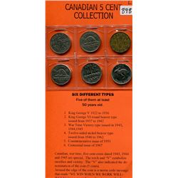 CANADIAN 5 CENT COLLECTION- 6 TYPES