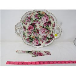 CAKE PLATE AND KNIFE (EMELIE CHINTZ)