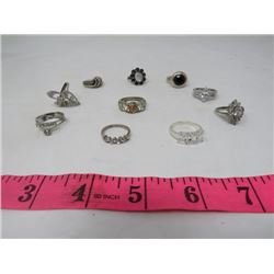 LOT OF TEN RINGS (SOME STERLING SILVER)