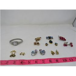 LOT OF VINTAGE COSTUME JEWELERY AND WATCH (3 PAIR OF BROOCHES WITH EARRINGS) *3 PAIR OF EARRINGS