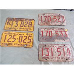 LOT OF 5 SASK LICENSE PLATES (1967 X 2, 1973 X 3)