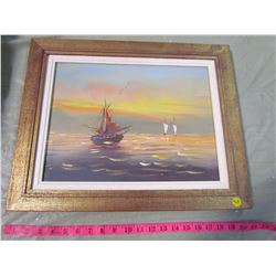 GOLD FRAMED SAILBOAT PAINTING