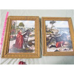 LOT OF 2 FRAMED PAINTINGS OF GIRL AND HER DOG