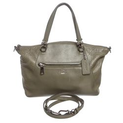 Coach Olive Green Leather Two-Way Handbag