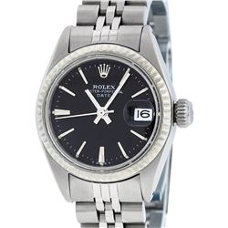 Rolex Ladies Stainless Steel Black Index Dial 26MM Datejust Wristwatch