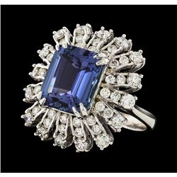 5.91 ctw Tanzanite and Diamond Ring - 14KT White Gold