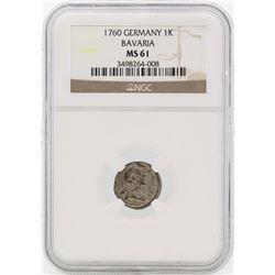 1760 Germany Bavaria 1 Kreutzer Coin NGC MS61