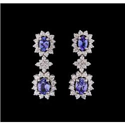 2.35 ctw Tanzanite and Diamond Earrings - 14KT White Gold