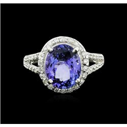 14KT White Gold 4.19 ctw Tanzanite and Diamond Ring