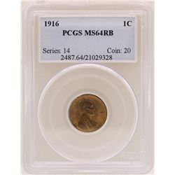 1916 Lincoln Cent Coin PCGS MS64RB