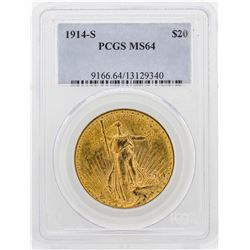 1914-S $20 St. Gaudens Double Eagle Gold Coin PCGS MS64