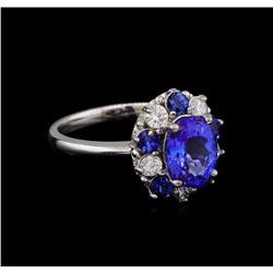 2.55 ctw Tanzanite, Sapphire and Diamond Ring - 14KT White Gold