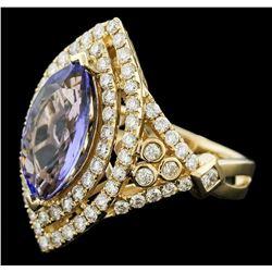 14KT Yellow Gold 10.41 ctw Tanzanite and Diamond Ring