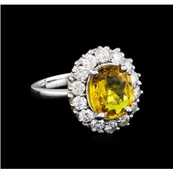 3.40 ctw Yellow Sapphire and Diamond Ring - 14KT White Gold