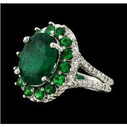 4.54 ctw Emerald, Tsavorite and Diamond Ring - 14KT White Gold