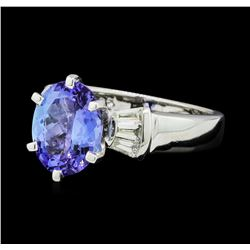 2.68 ctw Tanzanite and Diamond Ring - Platinum