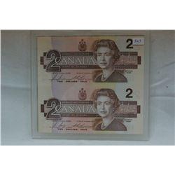 Canada Two Dollar Bills (2)