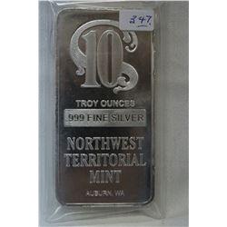 Silver Bar - Ten Troy Ounces (no GST)