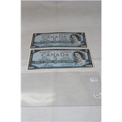 Canada Five Dollar Bills (2)