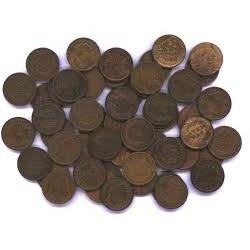 Bag of 3 Unsearched Indian Head Pennies with Assorted Dates and Grades