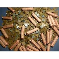 Roll of Unsearched Wheat Pennies out of Safe Box