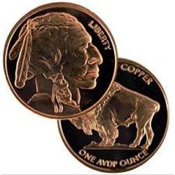 CHIEF BUFFALO 1oz Copper 999 Fine Copper Coin MS High Grade