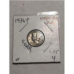 1936 P Silver Mercury Dime Very Fine Grade