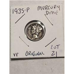 1935 P ORIGINAL Silver Mercury Dime Very Fine Grade