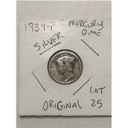 1934 P Mercury Silver Dime Original